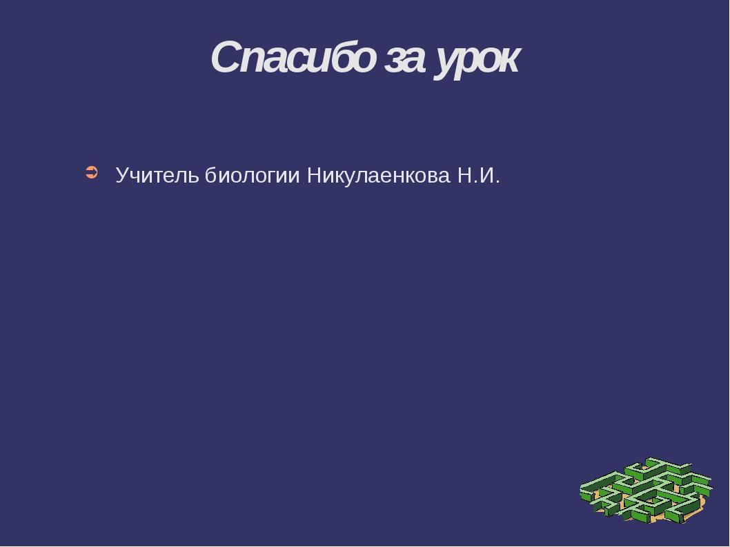 Спасибо за урок Учитель биологии Никулаенкова Н.И.