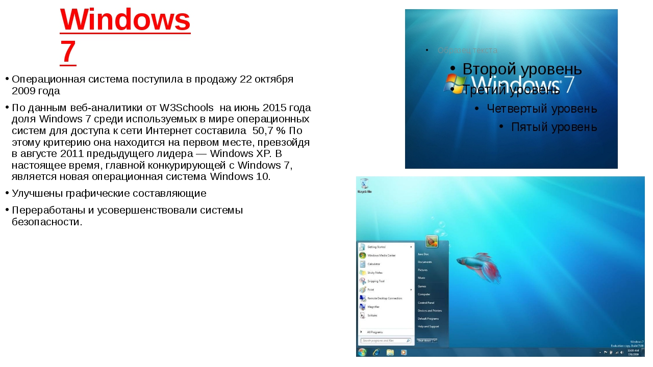 Windows 7 Операционная система поступила в продажу 22 октября 2009 год...