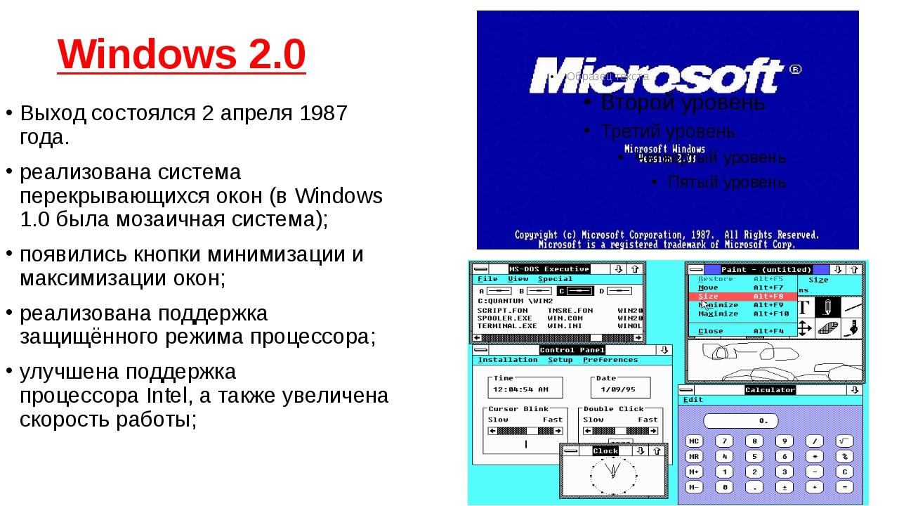 Windows 2.0 Выход состоялся2 апреля1987 года. реализована...