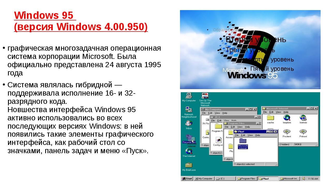 Windows 95 (версия Windows 4.00.950) графическаямногозадачная&nb...