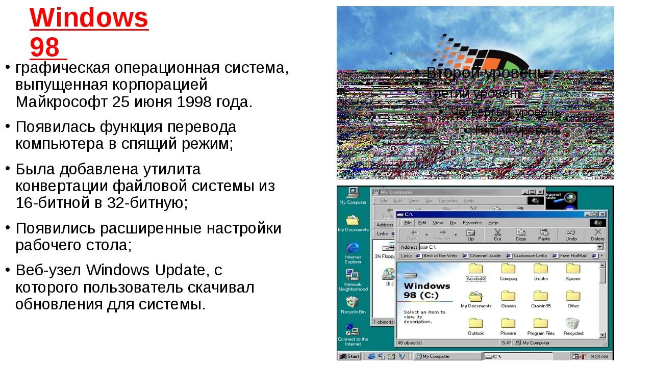 Windows 98 графическаяоперационная система, выпущенная корпораци...