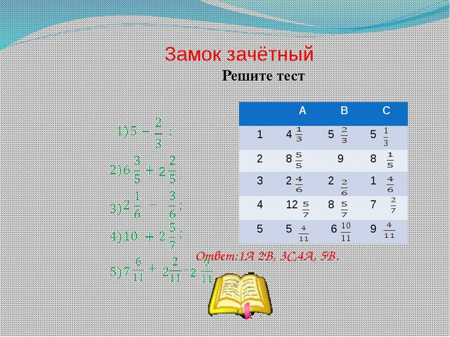 Замок зачётный 2 Решите тест Ответ:1А 2В, 3С,4А, 5В. 2 А В С 1 4 5 5 2 8 9 8...
