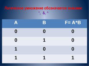 Логическое умножение обозначается знаками: *, &, ^ А В F=A*B 0 0 0 0 1 0 1 0