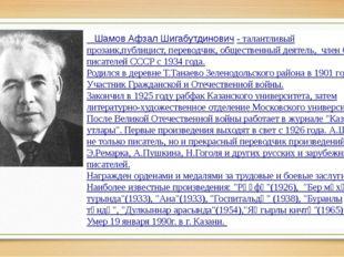Шамов Афзал Шигабутдинович-талантливый прозаик,публицист, переводчик, общ
