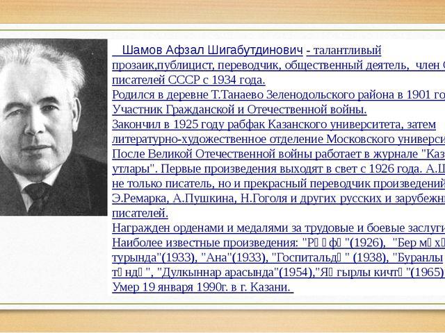 Шамов Афзал Шигабутдинович-талантливый прозаик,публицист, переводчик, общ...