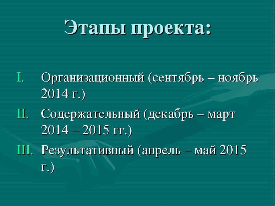 Этапы проекта: Организационный (сентябрь – ноябрь 2014 г.) Содержательный (де...