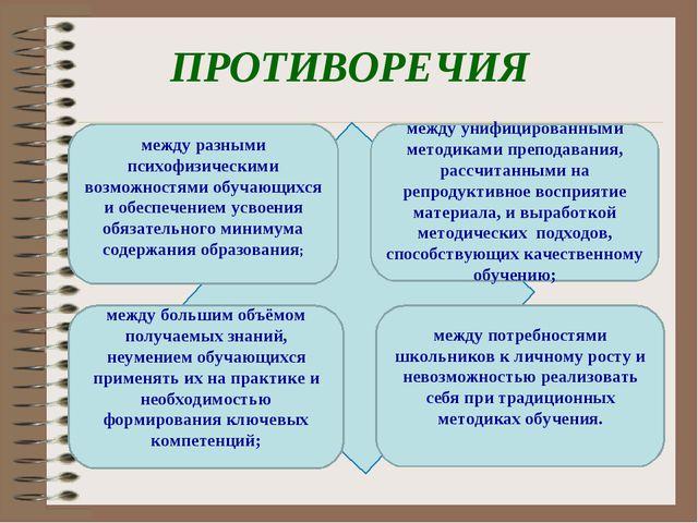 ПРОТИВОРЕЧИЯ между разными психофизическими возможностями обучающихся и обесп...