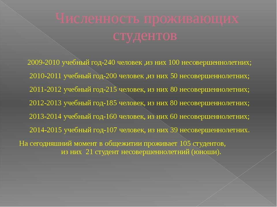 Численность проживающих студентов 2009-2010 учебный год-240 человек ,из них 1...