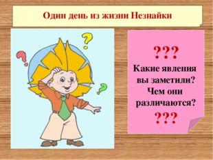 ??? Какие явления вы заметили? Чем они различаются? ??? Один день из жизни Н