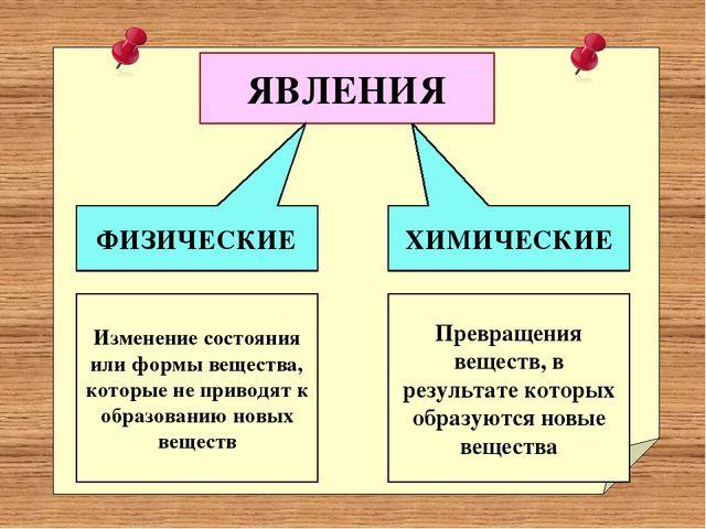 ЯВЛЕНИЯ ФИЗИЧЕСКИЕ ХИМИЧЕСКИЕ Изменение состояния или формы вещества, которы...