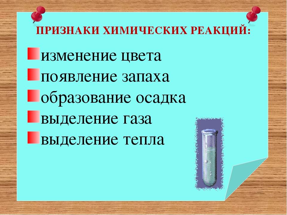 ПРИЗНАКИ ХИМИЧЕСКИХ РЕАКЦИЙ: изменение цвета появление запаха образование ос...