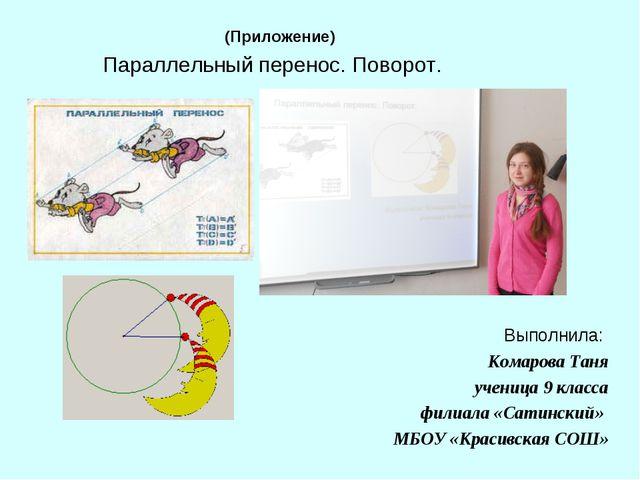 Параллельный перенос. Поворот. Выполнила: Комарова Таня ученица 9 класса фили...