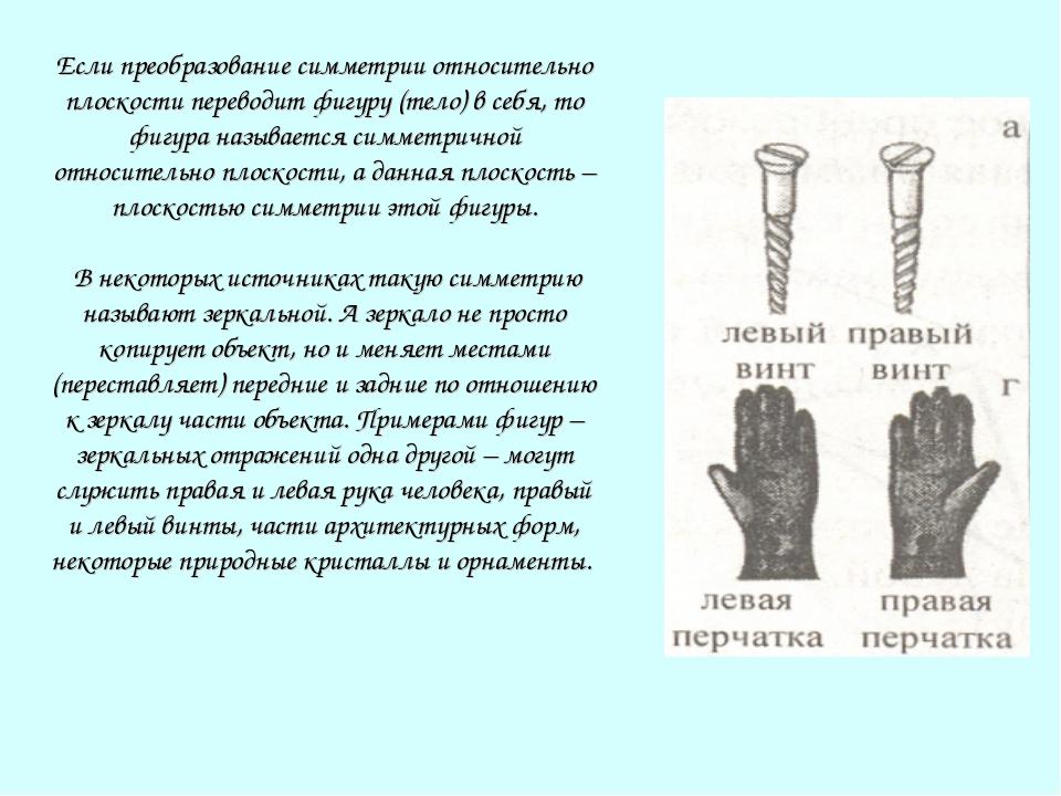 Если преобразование симметрии относительно плоскости переводит фигуру (тело)...