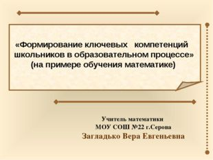 «Формирование ключевых компетенций школьников в образовательном процессе»