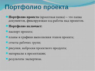 Портфолио проекта Портфолио проекта (проектная папка) – это папка документов,