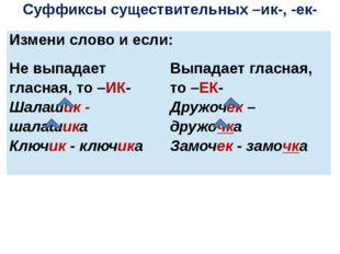Суффиксы существительных –ик-, -ек- Измени слово и если: Не выпадает гласная,