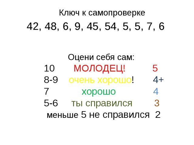 42, 48, 6, 9, 45, 54, 5, 5, 7, 6 Оцени себя сам: 10 МОЛОДЕЦ! 5 8-9 очень хоро...