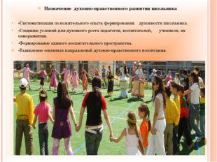 Назначение духовно-нравственного развития школьника -Систематизация положител