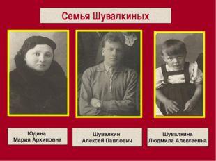 Семья Шувалкиных Шувалкин Алексей Павлович Юдина Мария Архиповна Шувалкина Лю