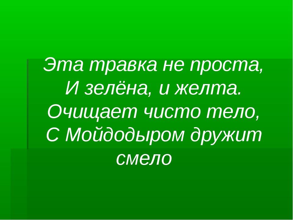 Эта травка не проста, И зелёна, и желта. Очищает чисто тело, С Мойдодыром дру...