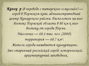 Кунгу́р (в переводе с татарского «смуглый») — город в Пермском крае, админист