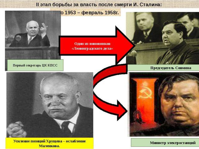 II этап борьбы за власть после смерти И. Сталина: Лето 1953 – февраль 1958г....