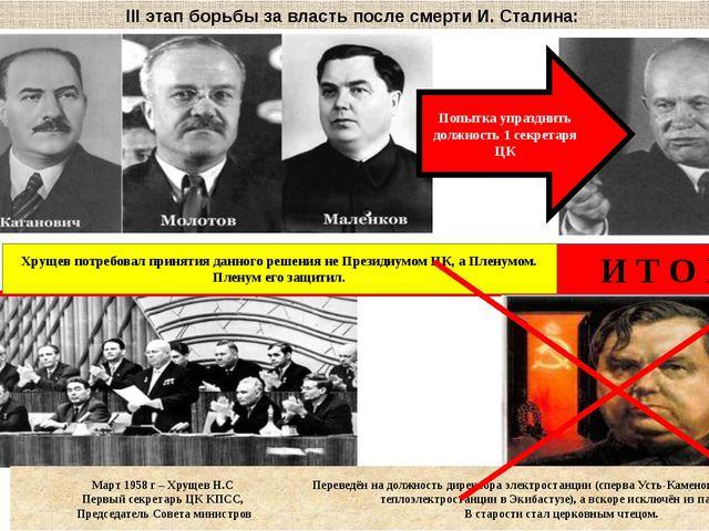 III этап борьбы за власть после смерти И. Сталина: Попытка упразднить должнос...