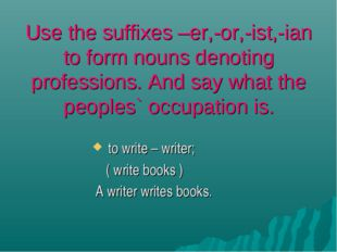 Use the suffixes –er,-or,-ist,-ian to form nouns denoting professions. And sa