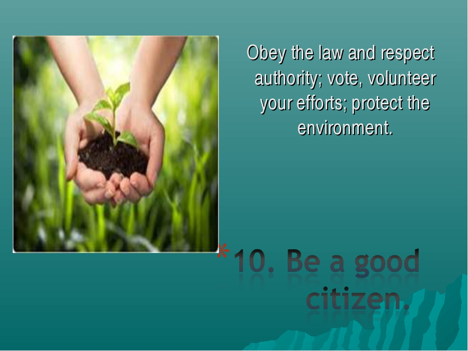 Obey the law and respect authority; vote, volunteer your efforts; protect the...