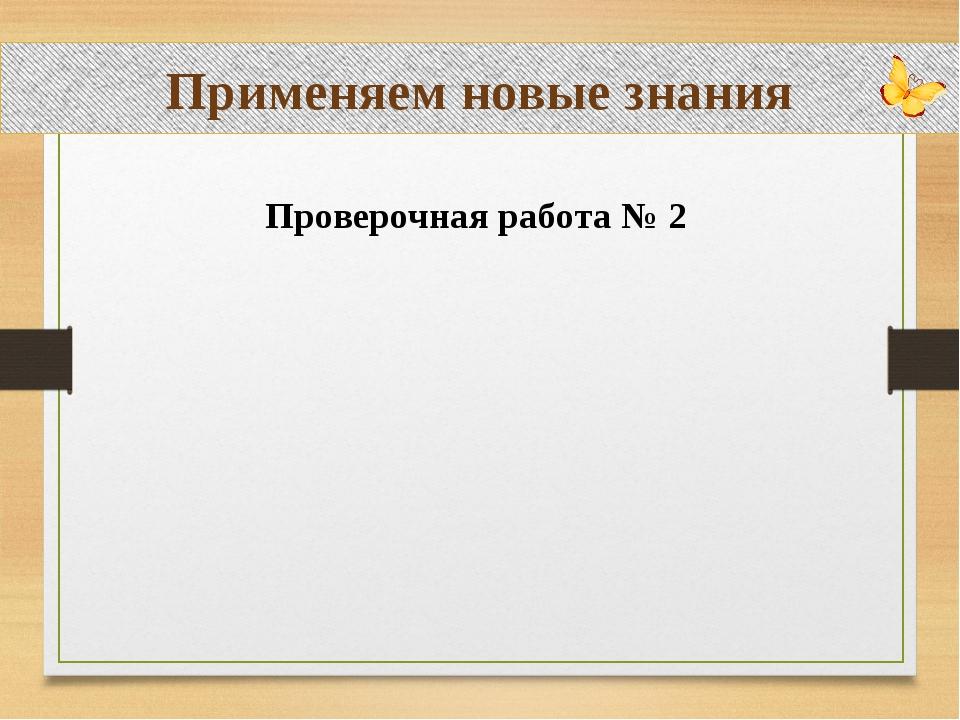 Применяем новые знания Проверочная работа № 2