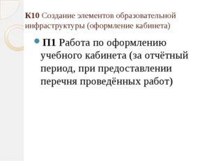 К10 Создание элементов образовательной инфраструктуры (оформление кабинета) П