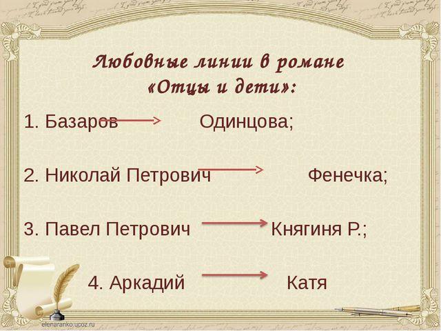 Любовные линии в романе «Отцы и дети»: 1. Базаров Одинцова; 2. Николай Петров...