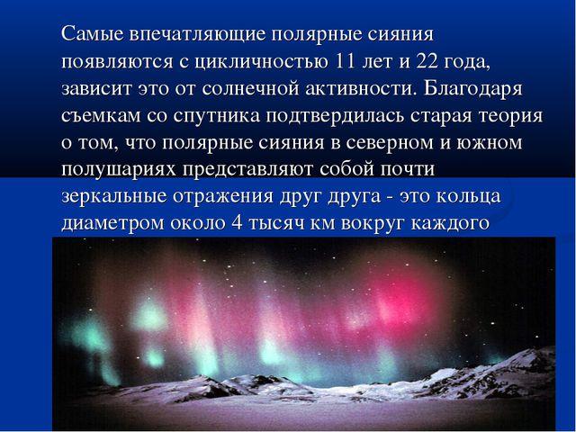 Самые впечатляющие полярные сияния появляются с цикличностью 11 лет и 22 год...