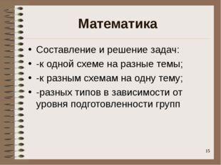 Математика Составление и решение задач: -к одной схеме на разные темы; -к раз