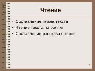 Чтение Составление плана текста Чтение текста по ролям Составление рассказа о