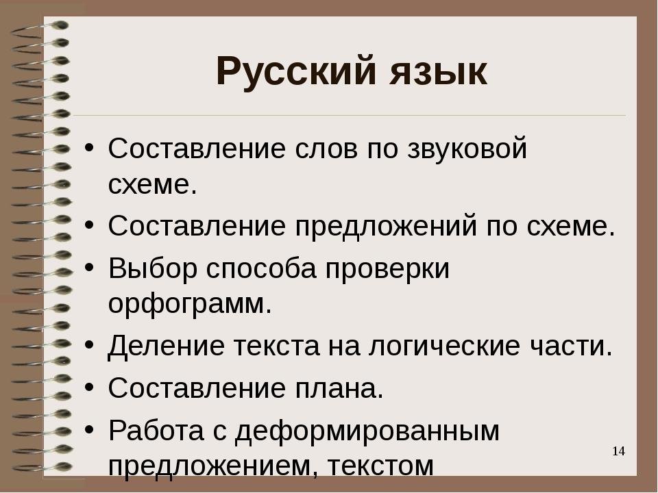 Русский язык Составление слов по звуковой схеме. Составление предложений по с...