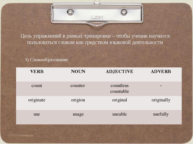 Цель упражнений в рамках тренировки – чтобы ученик научился пользоваться слов...