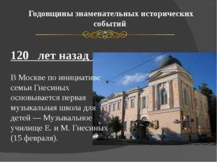 Годовщины знаменательных исторических событий 120 лет назад В Москве по иници