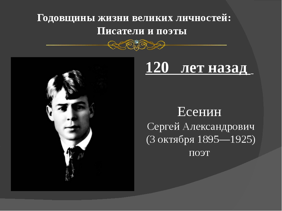 Годовщины жизни великих личностей: Писатели и поэты 120 лет назад Есенин Серг...