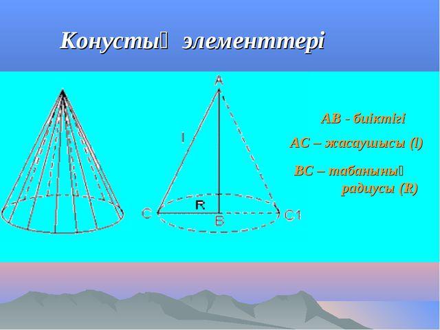 Конустың элементтері АВ - биіктігі АС – жасаушысы (l) ВС – табанының радиусы...