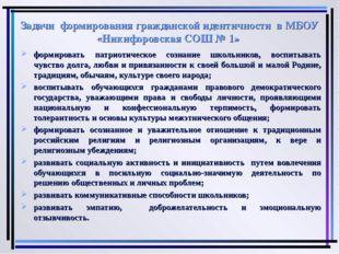 Задачи формирования гражданской идентичности в МБОУ «Никифоровская СОШ № 1» ф