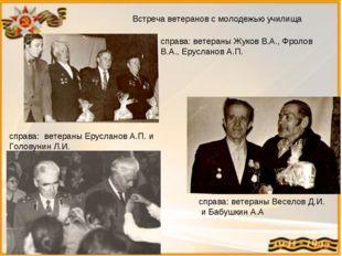 Встреча ветеранов с молодежью училища справа: ветераны Жуков В.А., Фролов В.А