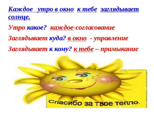 Каждое утро в окно к тебе заглядывает солнце. Утро какое? каждое-согласование...