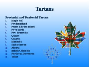 Tartans Provincial and Territorial Tartans Maple leaf Newfoundland Prince Edw