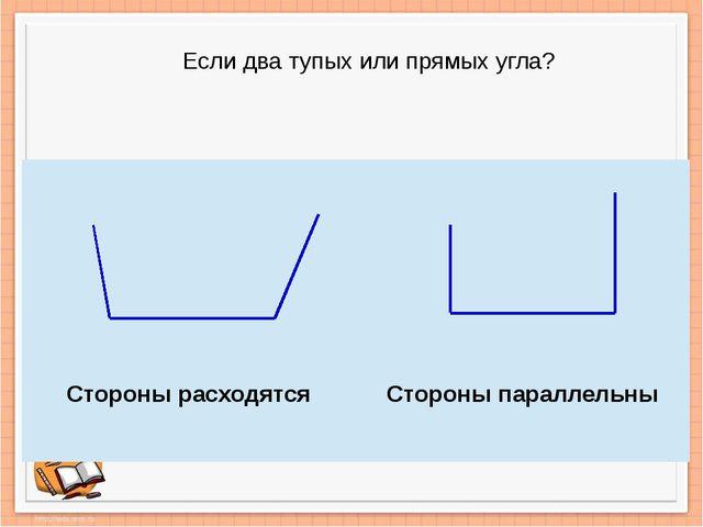 Если два тупых или прямых угла? Стороны расходятся Стороны параллельны