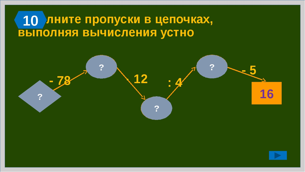 33 54 Заполните пропуски в цепочках, выполняя вычисления устно 27 ?  2 - 12...
