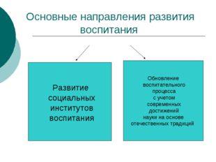 Основные направления развития воспитания Обновление воспитательного процесса
