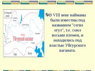 """В VIII веке найманы были известны под названием """"сегиз огуз"""", т.е. союз восьм"""