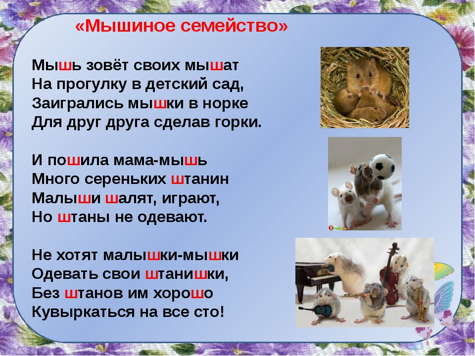 «Мышиное семейство» Мышь зовёт своих мышат На прогулку в детский сад, Заигра...