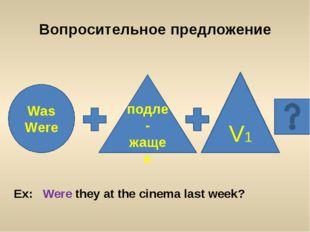 Was Were Вопросительное предложение V1 подле-жащее Ex: Were they at the cinem